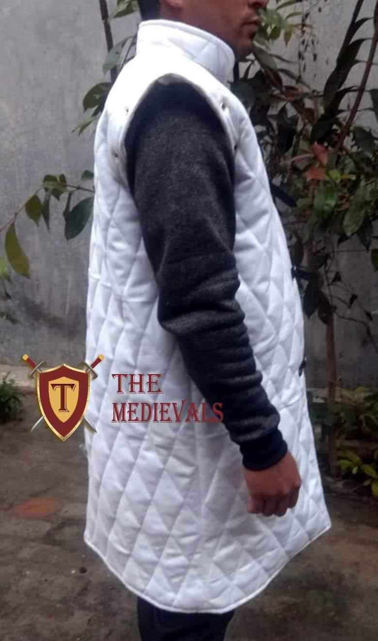 Medieval Gambeson Thick Padded Coat Aketon Jacket Armor White Cotton Fabrics