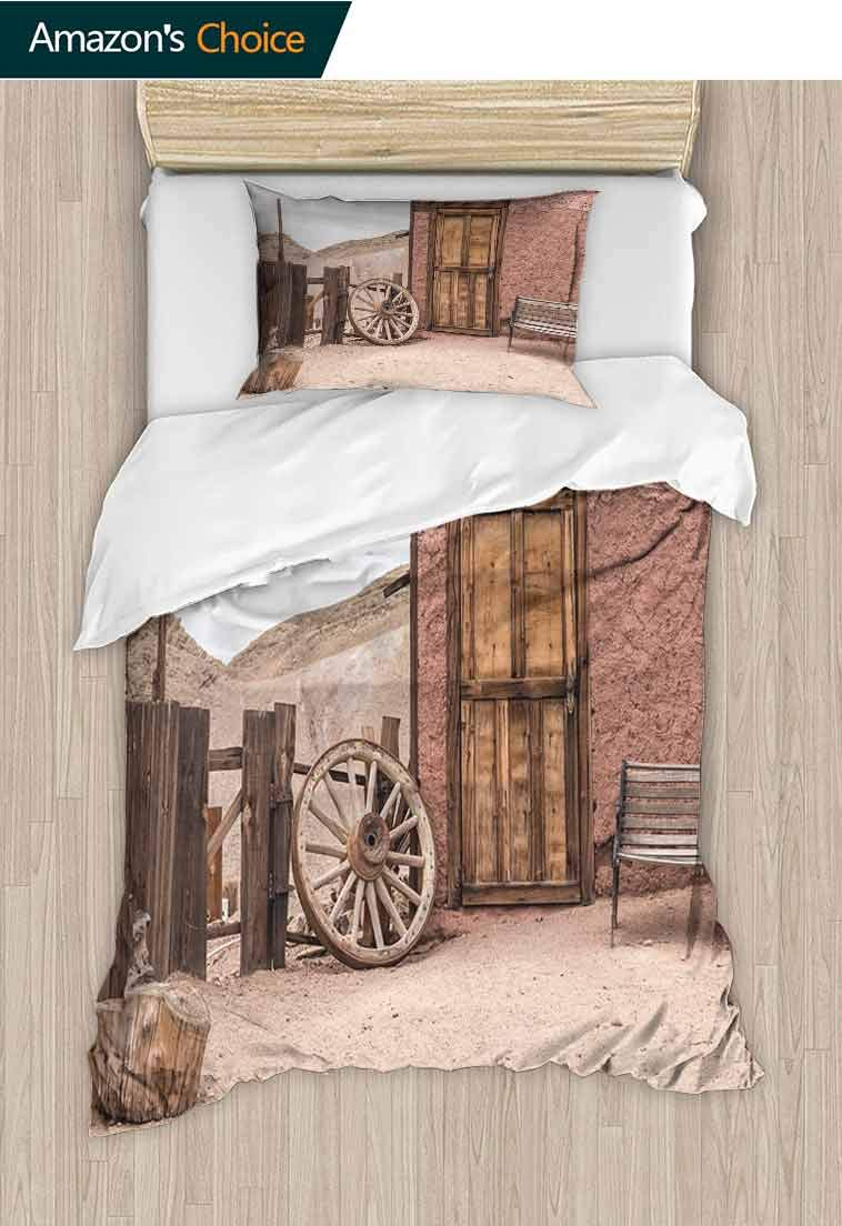 Barn Wood Wagon Wheel DIY Quilt Cover and Pillowcase Set, Abandoned Old Farmhouse Doorway Traditional Rustic Outdoors, Reversible Coverlet, Bedspread, Gifts for Girls Women, 79 W x 90 L Inches