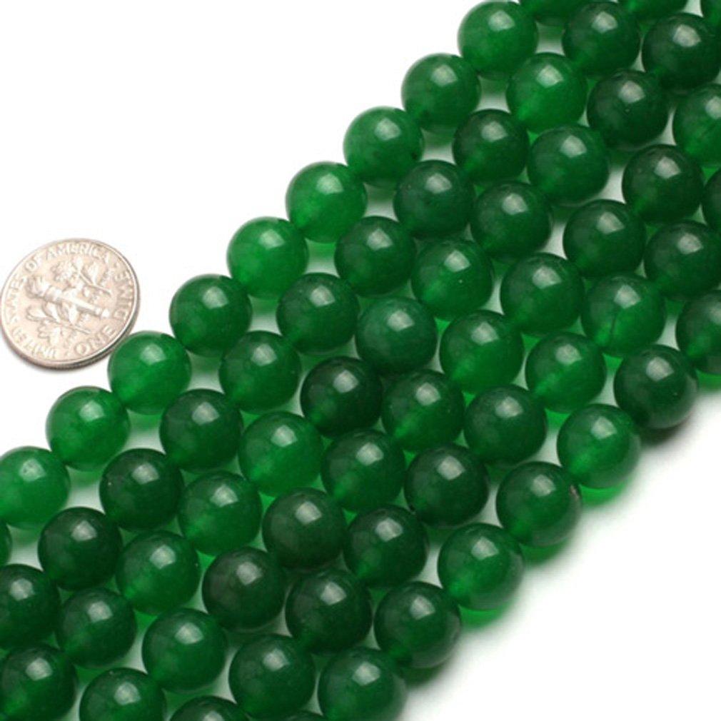 10mm Round Gemstone Green Jade Beads Strand 15 Inches Jewelry Making Beads