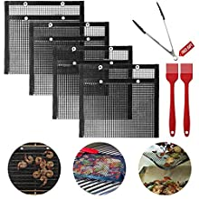Aokpsrt 4 Pack BBQ Grill Mesh Bags,Non-Stick BBQ Baked Bag Grilling Baking Reusable and Easy to Clean Mesh Grilling Pouch with Silicone Brush and BBQ Tong