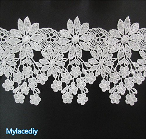 2 Meters Flower Lace Edge Trim Ribbon 9 cm Width Vintage Style Off White Edging Trimmings Fabric Embroidered Applique Sewing Craft Wedding Bridal Dress Embellishment DIY Party Decor Clothes Embroidery