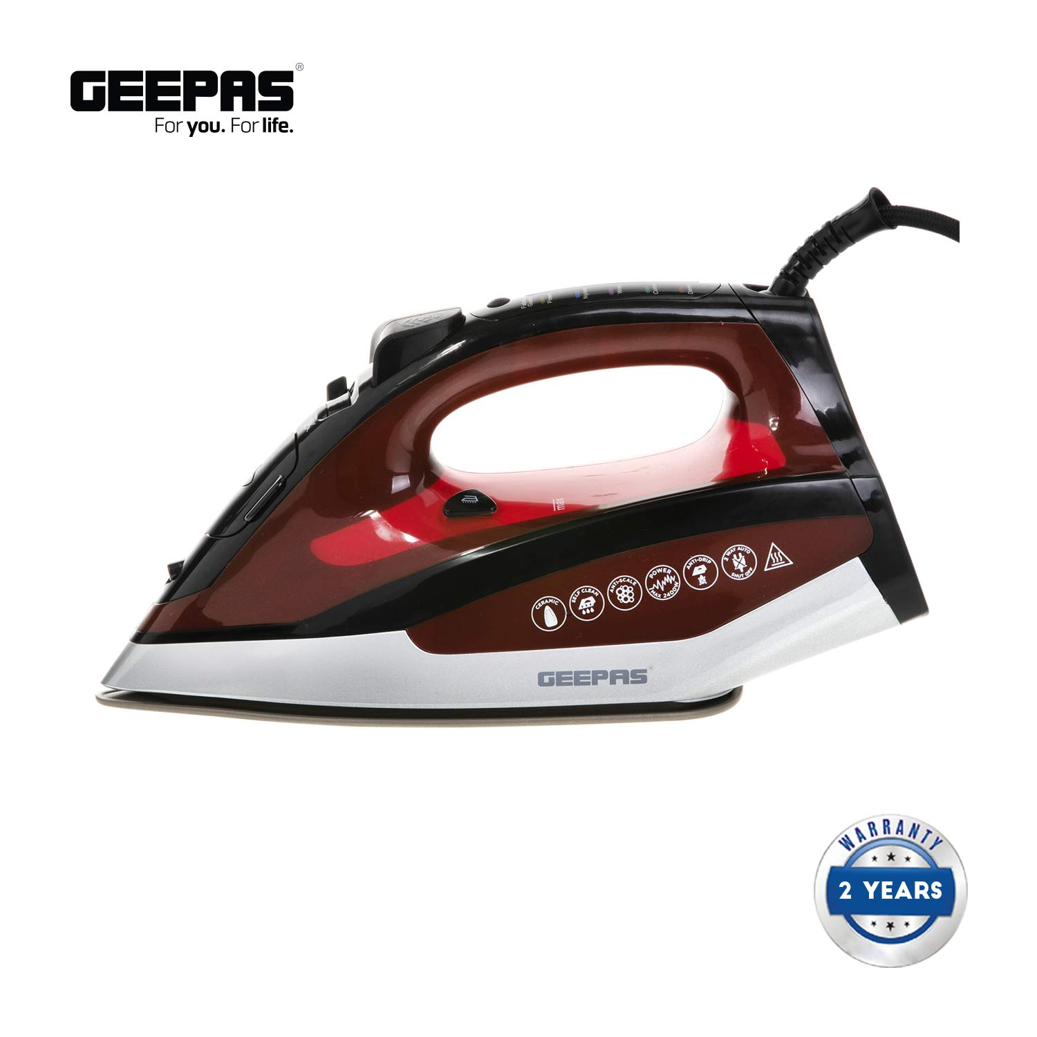 Geepas Digital Steam Iron for Crisp Ironed Clothes – Ceramic Soleplate, Digital Temperature Adjustment, Automatic Shut-Off and Self Clean Function