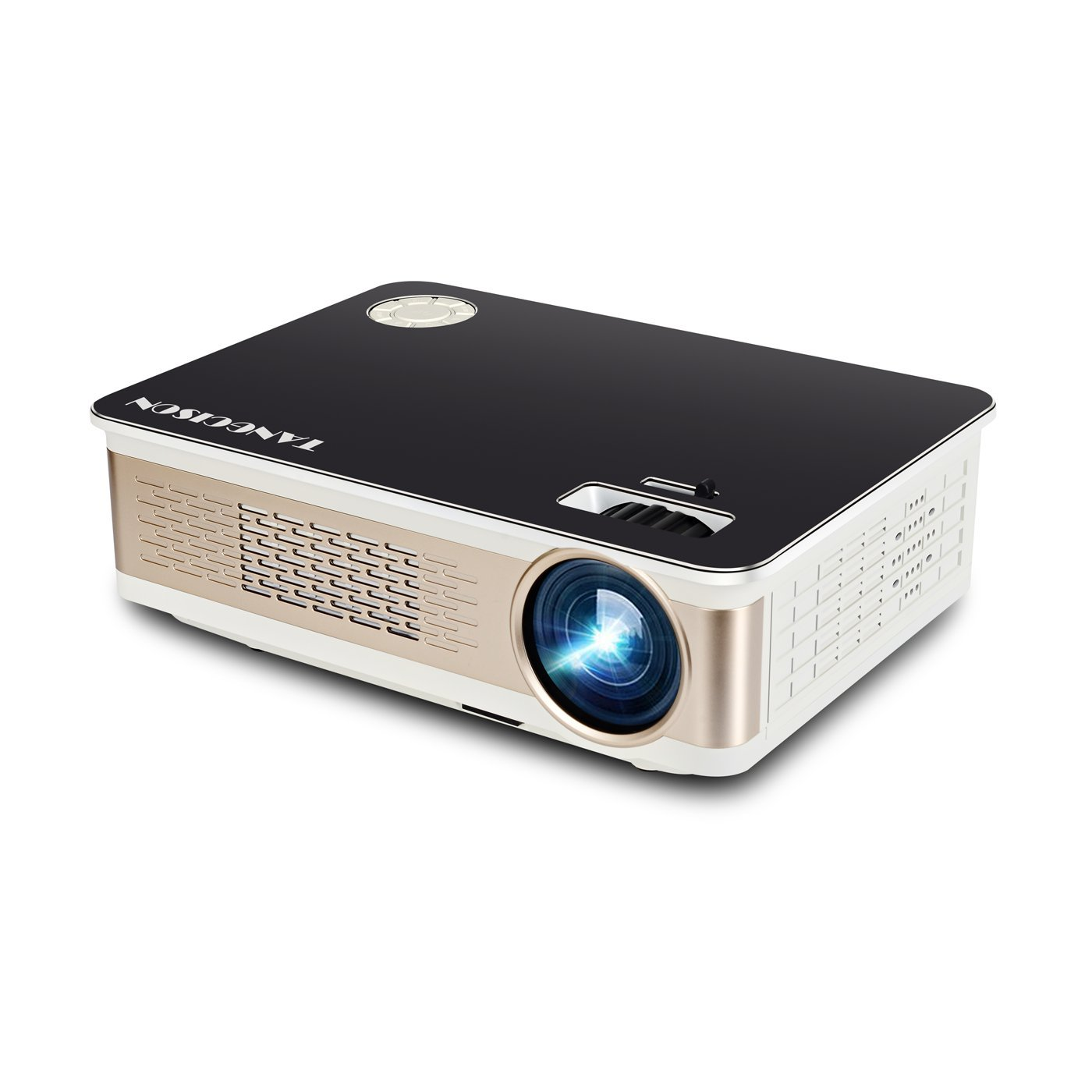 TANGCISON Home Projector Video Projector, LED Christmas Projector 3300Luminous 280'' HD 1080P Projector Home Theater Video Mini Projector Multimedia Home Theater Movies Projector (black)