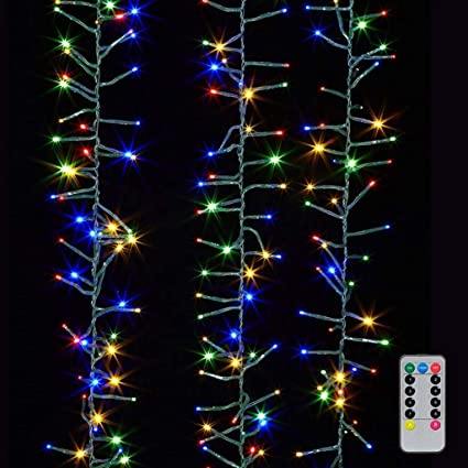 Christmas Cluster Lights 20 Foot Garland with 600 Multi Color Lights on  Green Wire with Remote - Amazon.com : Christmas Cluster Lights 20 Foot Garland With 600 Multi
