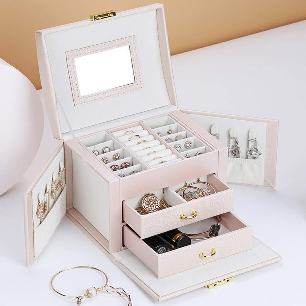 HMY Gespiegelte Schmuck Organizer f/ür Frauen Vorratsbeh/älter mit Teilern Multi-Layer-Halsketten Ohrringe Ringe Display Armb/änder