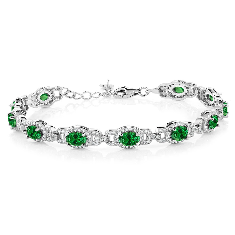 Gem Stone King 925 Sterling Silver Oval Green Simulated Emerald Women's 7 Inch Bracelet With 1 Inch Extender, 11.08 Ctw by Gem Stone King