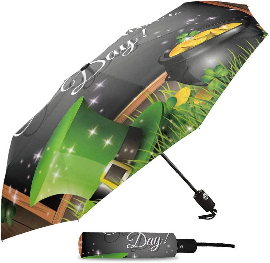 Patricks Day Hats Clover,Durable Folding Compact Umbrella for Outdoor Rainy Use Travel Umbrella Windproof-Happy ST Auto Open and Close Button