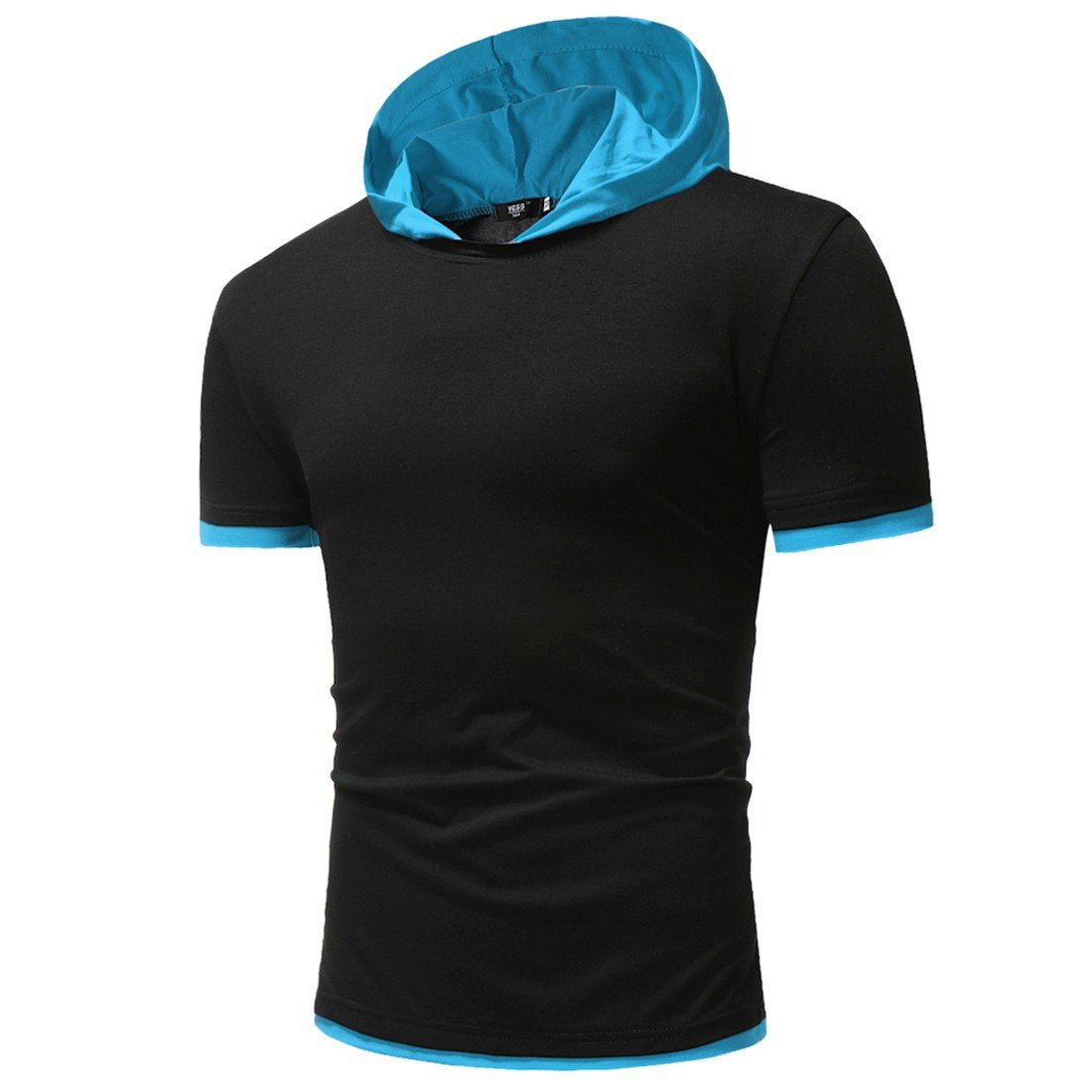 Paixpays Mens Hipster Hip Hop Short Sleeve Longline Hoodies Shirts