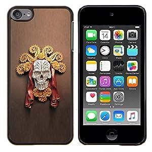 """Be-Star Único Patrón Plástico Duro Fundas Cover Cubre Hard Case Cover Para iPod Touch 6 ( Jefe de Sun del oro del cráneo de la Muerte Roja Marrón"""" )"""