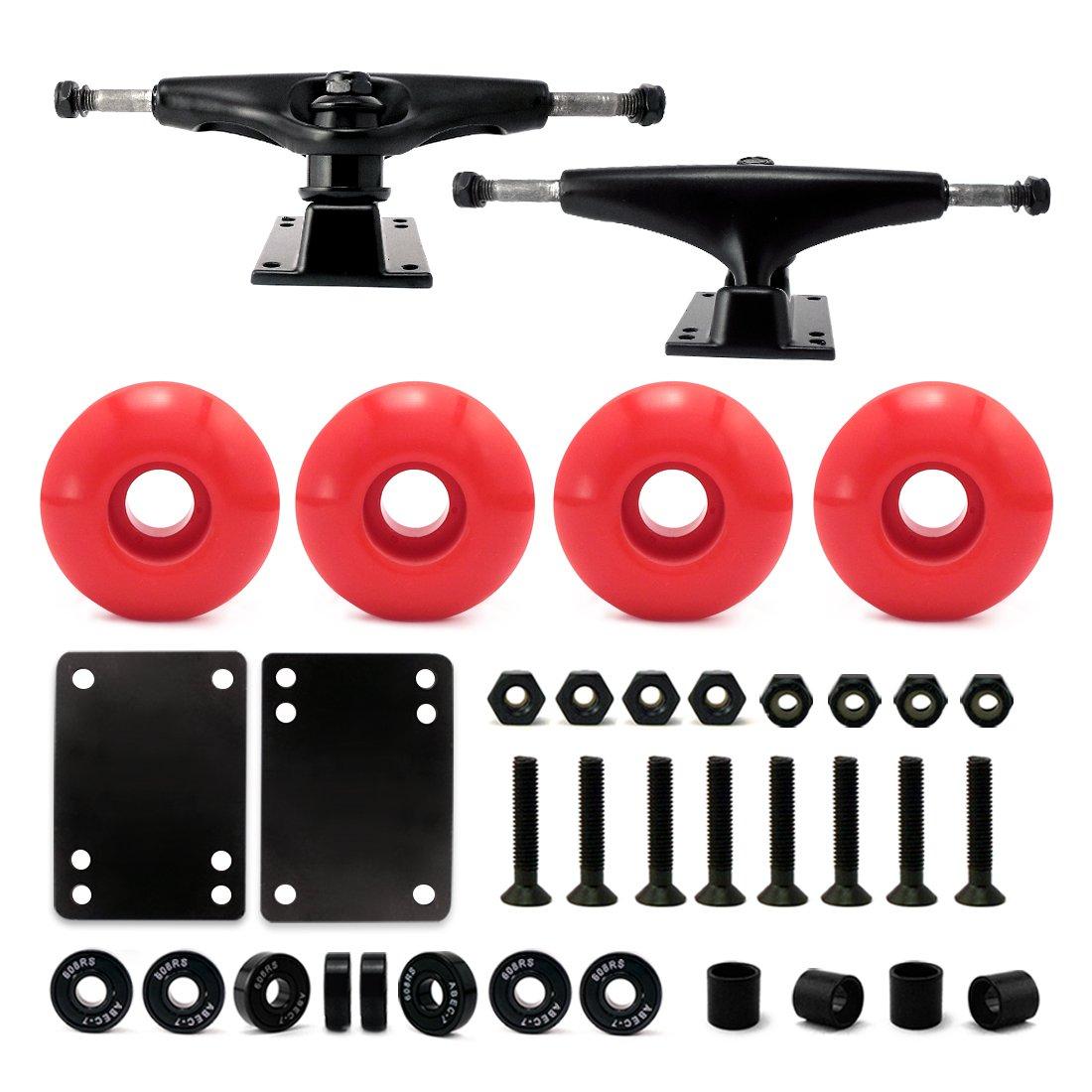 VJ 5.0 Skateboard Trucks (Black), Skateboard Wheels 52mm, Skateboard Bearings, Skateboard Pads, Skateboard Hardware 1'' (52mm red) by VJ