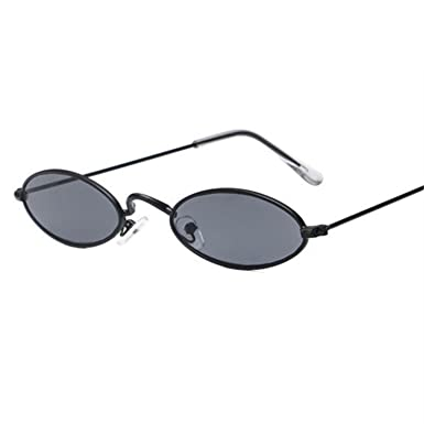 6350040f5704 Vintage Small Oval Sunglasses Women Fashion Shades Sun Glasses Men Metal Clear  Eyewear UV400,Black