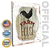 """MARLA RAE Country Rooster Farmhouse Wall Decor 12"""" x 16"""" - Primitive Rustic Chicken Art for Kitchen, Outhouse, Barn"""