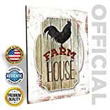Marla Rae Country Rooster Farmhouse Wall Decor 12'' x 16'' - Primitive Rustic Chicken Art for Kitchen, Outhouse, Barn