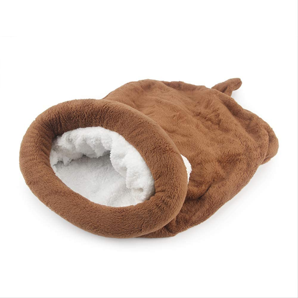 Unlxn Lindo Saco De Dormir para Gatos Cama De Gato Cálida De Invierno Pequeña Casa De Perro para Cojín De Nido De Conejo Suave Bolsa De Dormir para Mascotas 55 * 65 Cm Marrón
