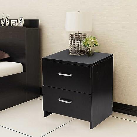 Incredible Pethot Bedside Table Cabinet Black 2 Drawer Metal Handles Runners Bedroom Furniture Home Interior And Landscaping Ponolsignezvosmurscom