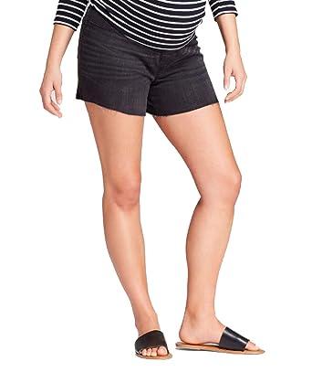 0930dfc5a1e86 Ingrid & Isabel Maternity Crossover Panel Midi Jean Shorts – Black Wash ...