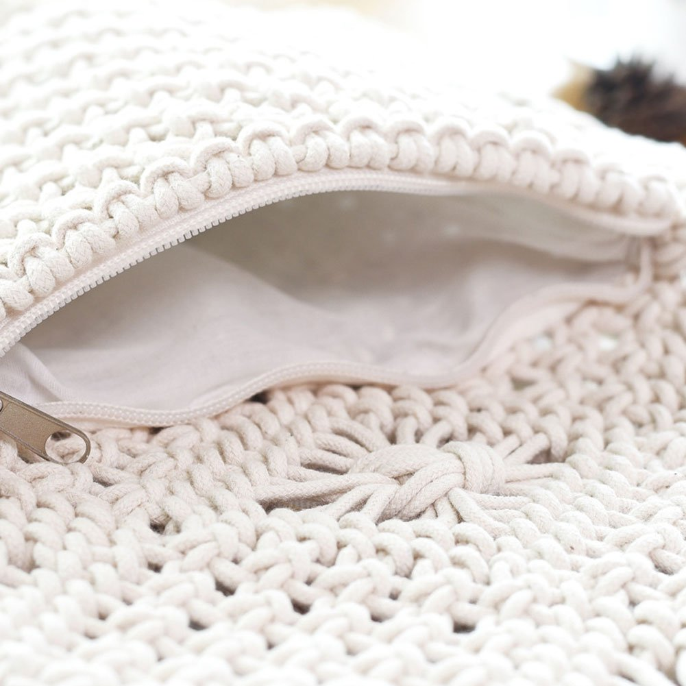 Woopower Bolsas de Hombro con Flecos de Crochet para Mujer, con borlas y Bandolera, para la Playa, Bohemio, Blanco: Amazon.es: Deportes y aire libre
