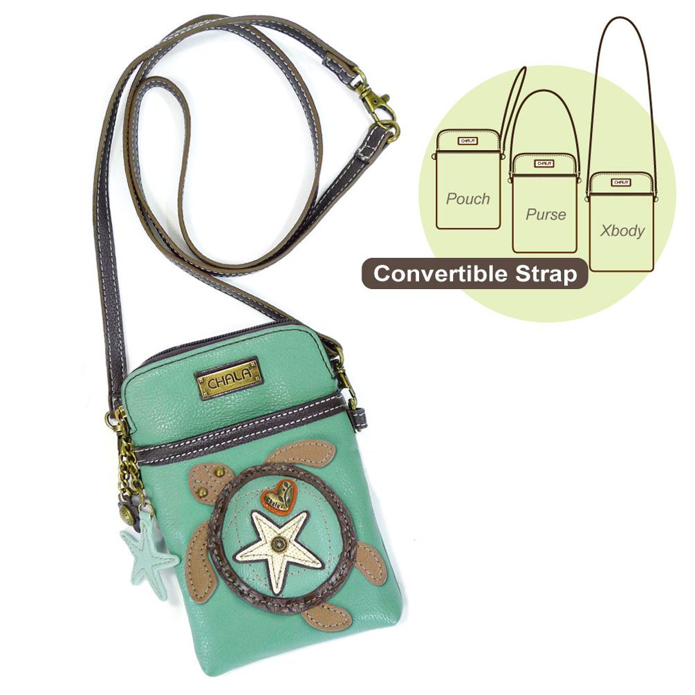 Chala Crossbody Cell Phone Purse-Women PU Leather Multicolor Handbag with Adjustable Strap (Aqua-SeaTurtle)
