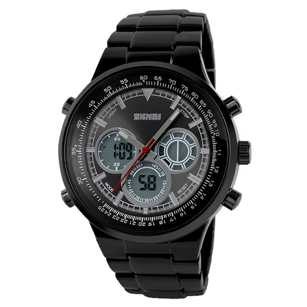 VIGOROSO Men's Fashion Stainless Steel Quartz Analog Digital Alarm Date Day Wrist Watch (Black)