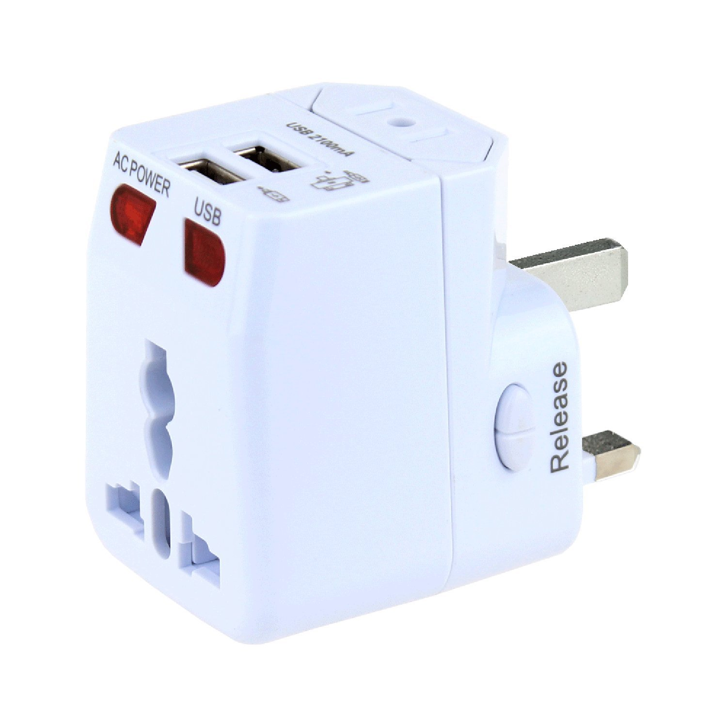 Universal Travel Adapter, Wonplug World Power Adapter Plug with 2.1A Dual USB, International Adapter Converters for Europe,Italy, Ireland,UK, AU,Asia,Over 200 Countries, Built-in Safety Fuse
