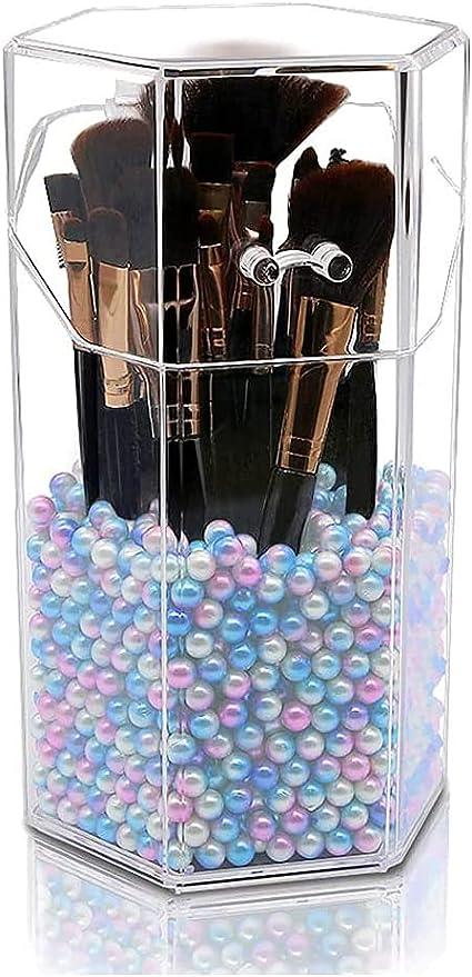 AIYoo Organiseur de maquillage en plastique r/ésistant /à la poussi/ère avec perles blanches 15 /à 20 pinceaux
