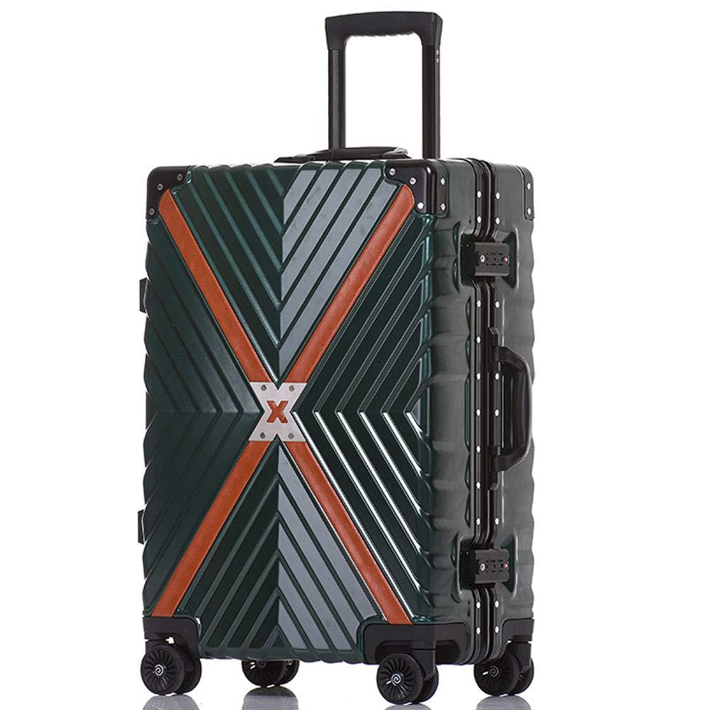 WJ スーツケース トロリーケース - ABS/PC、TSAコンビネーションロック、大容量、レトロアルミフレームアンチコリジョンユニバーサルホイール学生搭乗シャーシ - 3色3サイズオプション /-/ (色 : Green, サイズ さいず : 40*26*60cm) B07MYRVCN9 Green 40*26*60cm