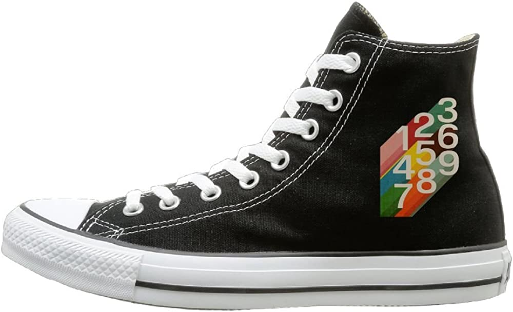 Aiguan Retro Numbers Canvas Shoes High Top Sport Black Sneakers Unisex Style