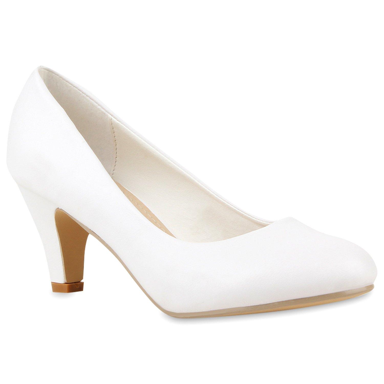 Stiefelparadies Damen Klassische Pumps mit Pfennigabsatz Glitzer Strass Flandell Weiß