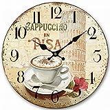 "HQF Italian Style Wall Clock, Eruner 12"" Stylish Office Wall Clock Classy Kitchen Clock Wooden Mottled Effect Living Room Lounge Silent Clock Hallway Timepiece Watch"