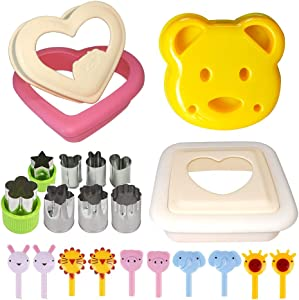 Sandwich Cutter and Sealer with Cookie Cutters, Bread Crust Cutter Remover Uncrustable Maker with Vegetable Fruit Cutters and Food Forks, Perfect for Lunchbox and Bento Box.