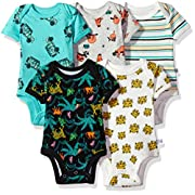 Rosie Pope Baby 5 Pack Bodysuits (More Colors Available), Truck/Sloth/Stripe, 0-3 Months