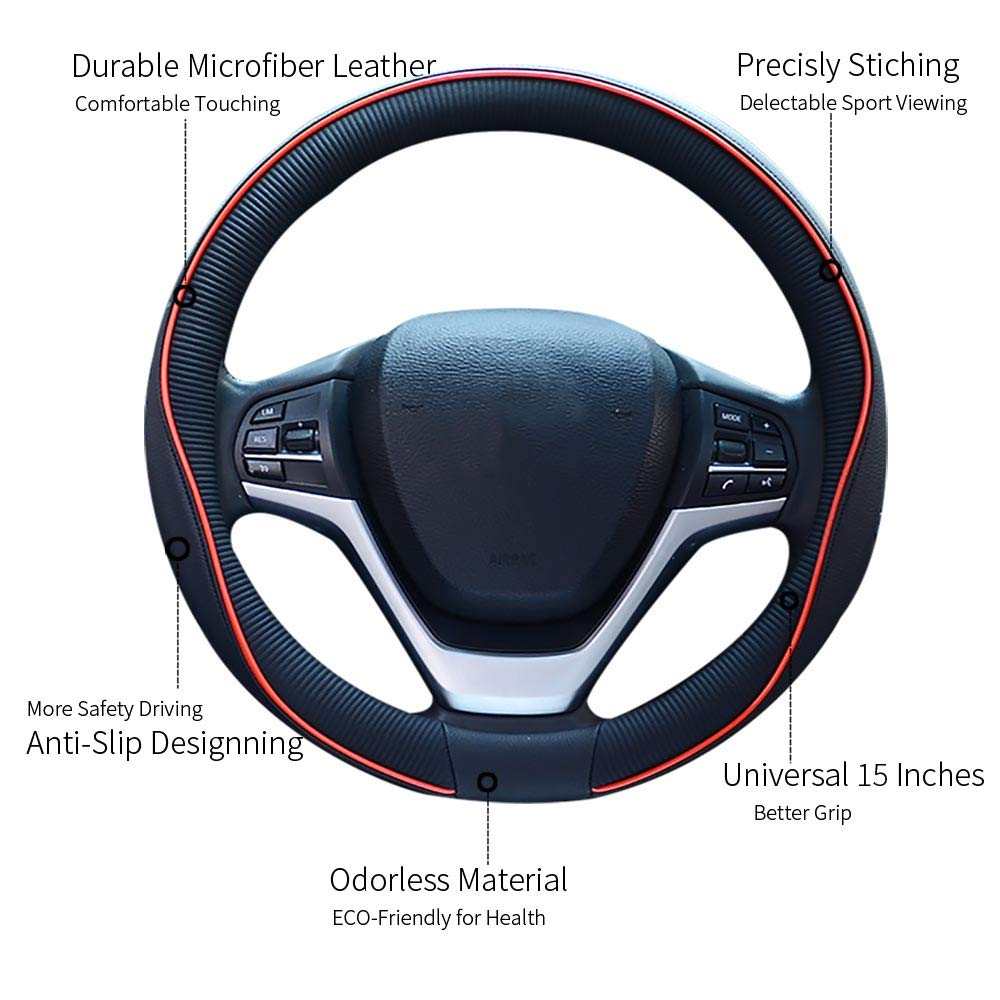 Black Red Non Slip Sport Design Steering Wheel Cover Good Fit