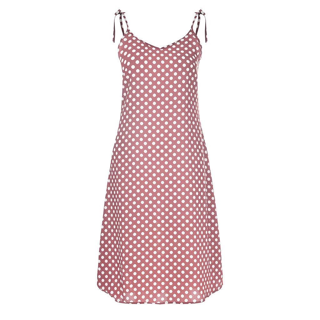 Women's Suspender Dresses Summer Fashion V-Neck Polka Dot Long Chiffon Lace-Up Sling Holiday Dress (S, Pink) by KoLan Women Dress (Image #1)