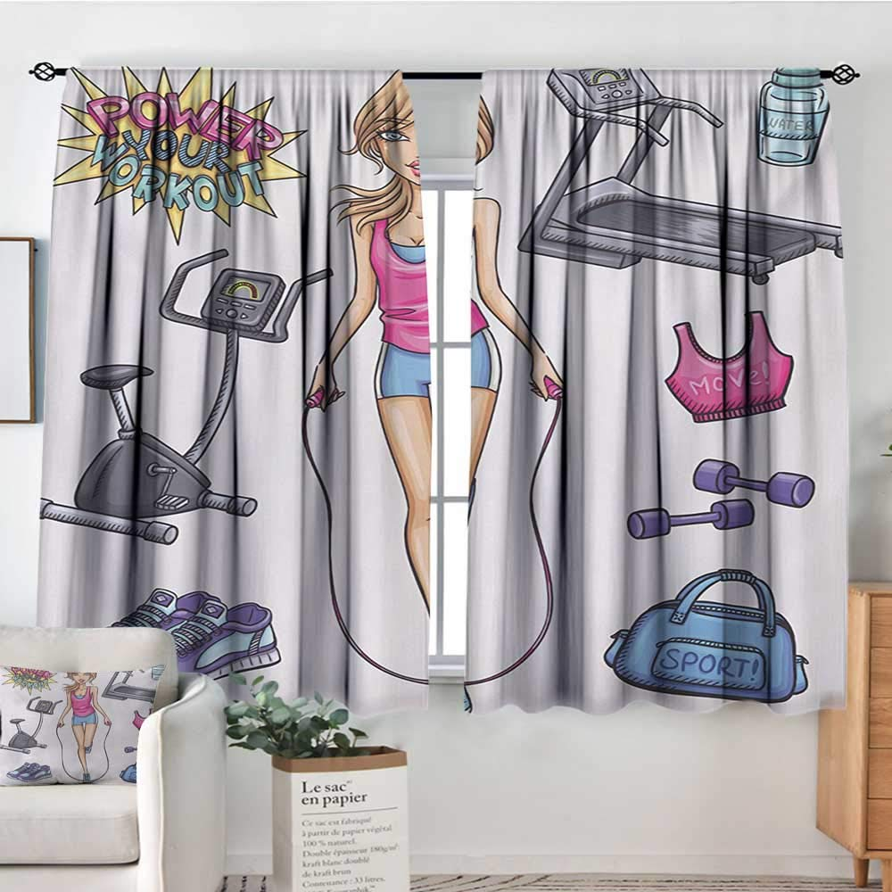 All of better Fitness Patterned Drape for Glass Door Beautiful Young Cartoon Girl Working Out at Gym Bike Treadmill Outfits and Quote Customized Curtains 72'' W x 45'' L Multicolor by All of better