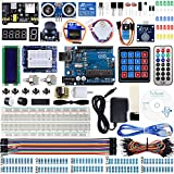 Miuzei UNO R3 Starter Kit for Arduino Projects with UNO R3 Board, LCD1602 Module, Breadboard, Servo, 9V 1A Power Supply, sensors, LEDs, Detailed Tutorial MA13