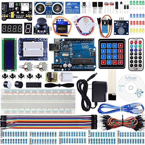 Miuzei UNO R3 Starter Kit for Arduino Projects with UNO R3 Board, LCD1602 Module, Breadboard, Servo, 9V 1A Power Supply, sensors, LEDs, Detailed Tutorial MA13 by Miuzei