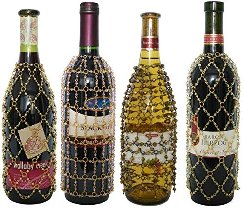 Assortment Bottle Bag - Royal Designs BWBC-4B Beaded Wine/Champagne Bottle Covers, Assortment B- Pack of 4