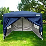 Peaktop10x10 Navy Blue EZ Pop Up Party Tent Canopy Gazeb Navy Blue 4 Walls 100% Waterproof