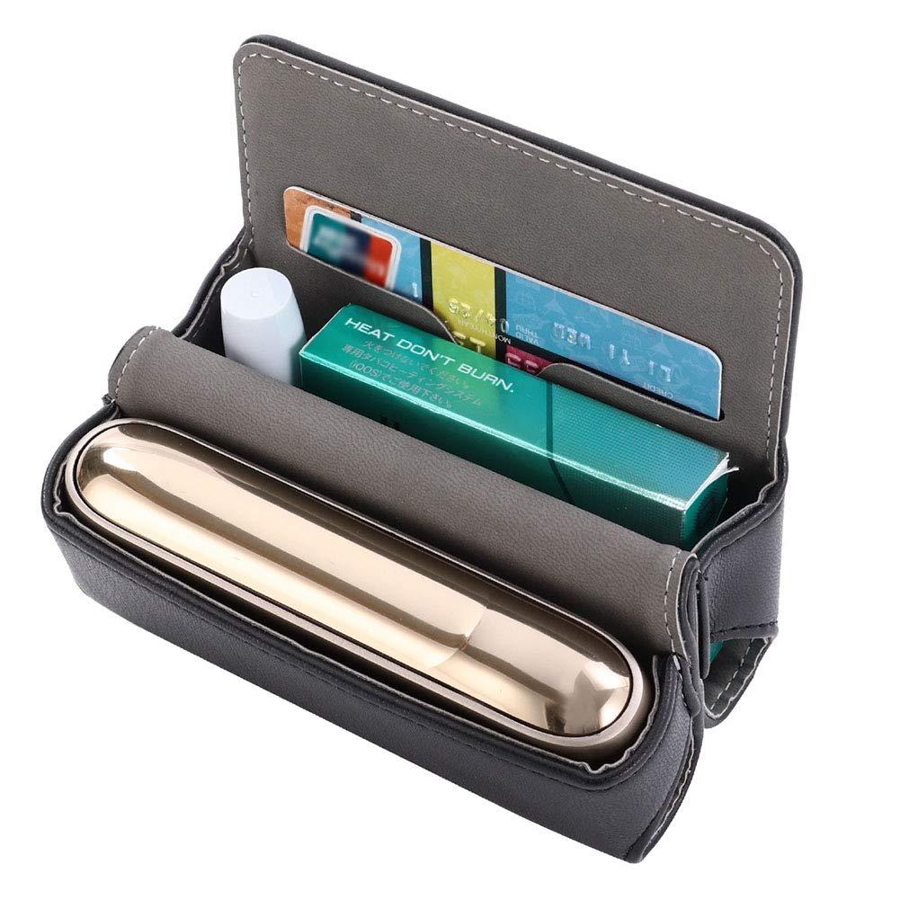 Slot per Schede Colore Marrone con Coperchio Magnetico DrafTor Custodia per Sigaretta Elettronica IQOS 3.0 in pelle PU