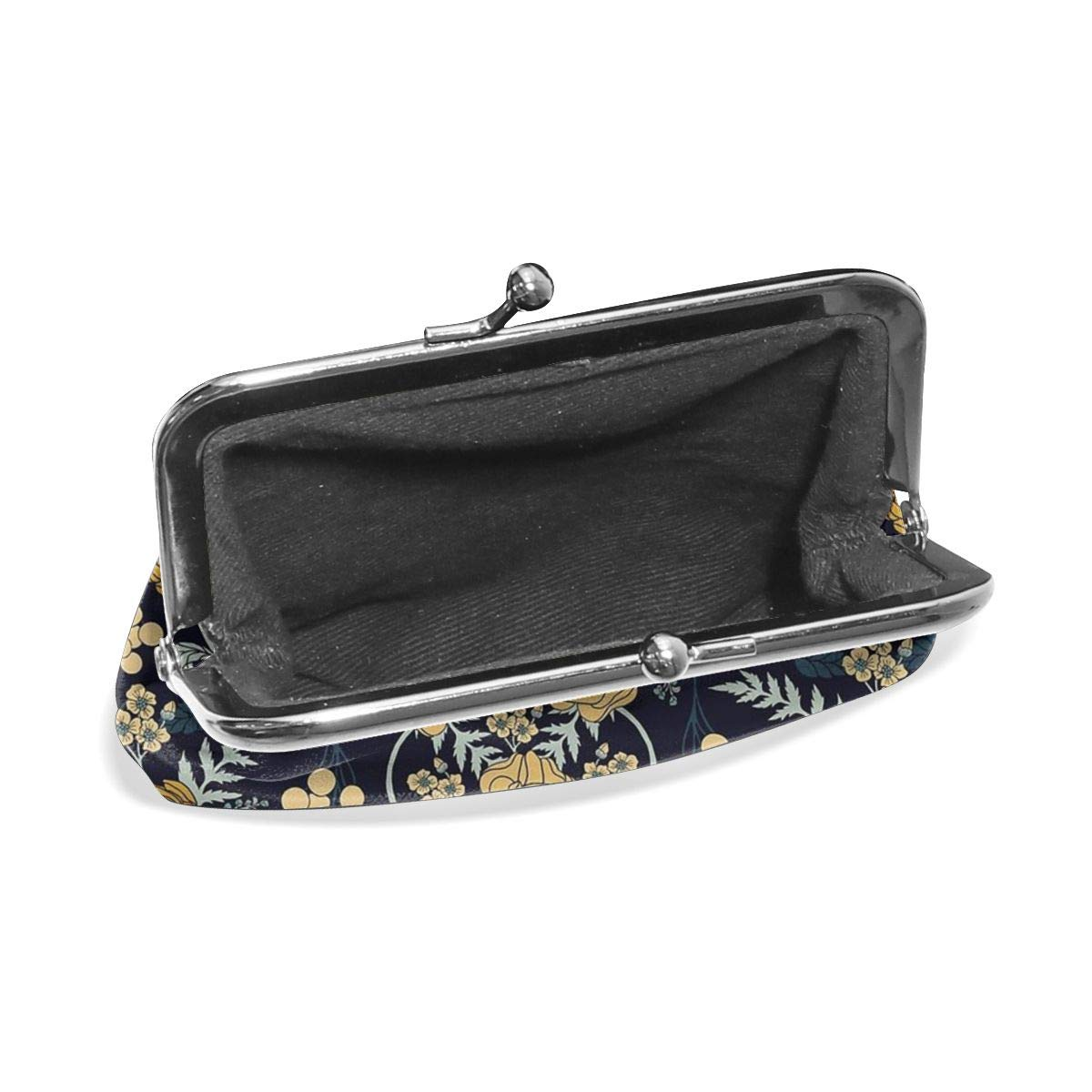 Poream Navy Blue Mustard Yellow Floral Customized Retro Leather Cute Classic Floral Coin Purse Clutch Pouch Wallet For Girls And Womens