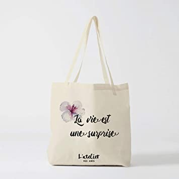 Tote Bag Life es una sorpresa bolsa de regalo de lona para ...