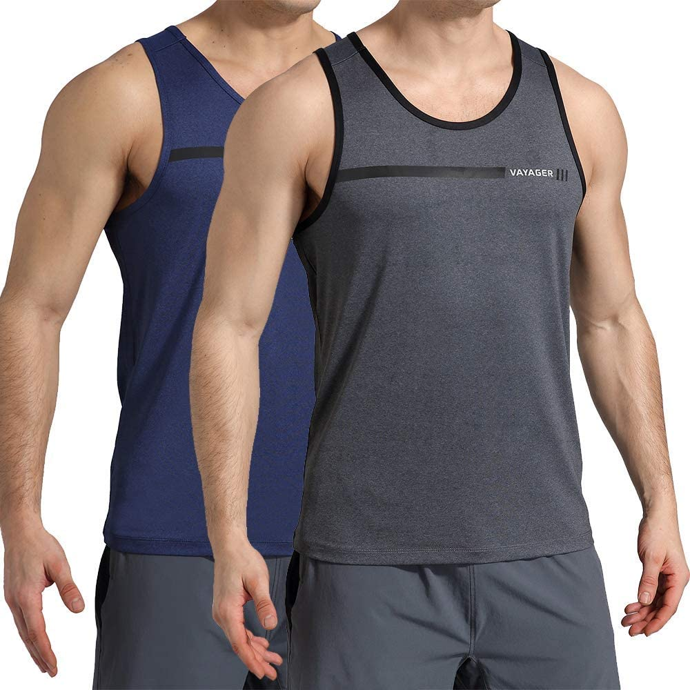 VAYAGER Mens Quick Dry Workout Tank Tops Bodybuilding Gym Athletic Training Sleeveless Shirts