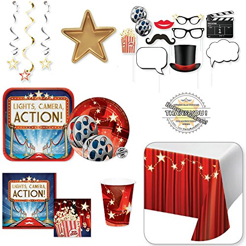 Hollywood Theme Party Decorations - Movie Night Premier Party Supplies -81 Pieces- Home Theater or Birthday Kit: Hollywood Photo Booth Props Cups Plates Popcorn Napkins Table Cloth Streamers -8 Guests