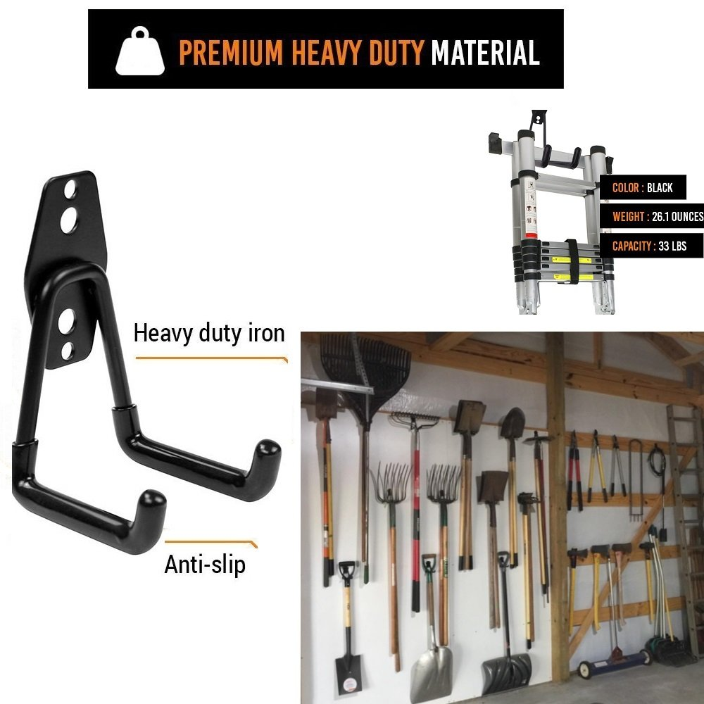 KESO HOME 5pcs Multi-Size Garage Storage Utility Hooks Wall Mount Garage Hanger & Organizer with Anti-Slip Coating for Workshop Garden Shed Store or Warehouse, Heavy Duty Iron by KESO HOME (Image #4)
