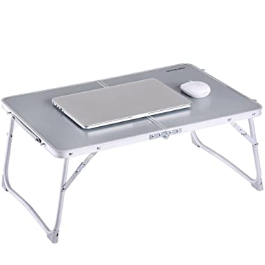 Foldable Laptop Table, Superjare Bed Desk, Breakfast Serving Bed Tray, Portable Mini Picnic Table & Ultra Lightweight, Folds in Half with Inner Storage Space - Gray