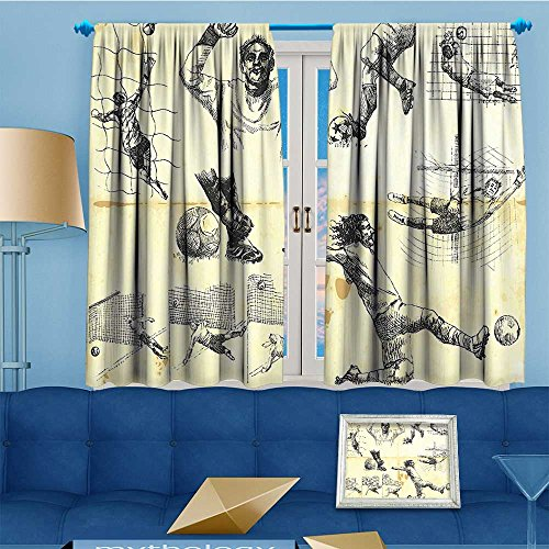 Mikihome Whale Decor Collection,Sports Soccer Player Goalkeeper Positions Soccer Theme Sketch Art,Window Treatments Bedroom Curtain 2 Panels Set, 55