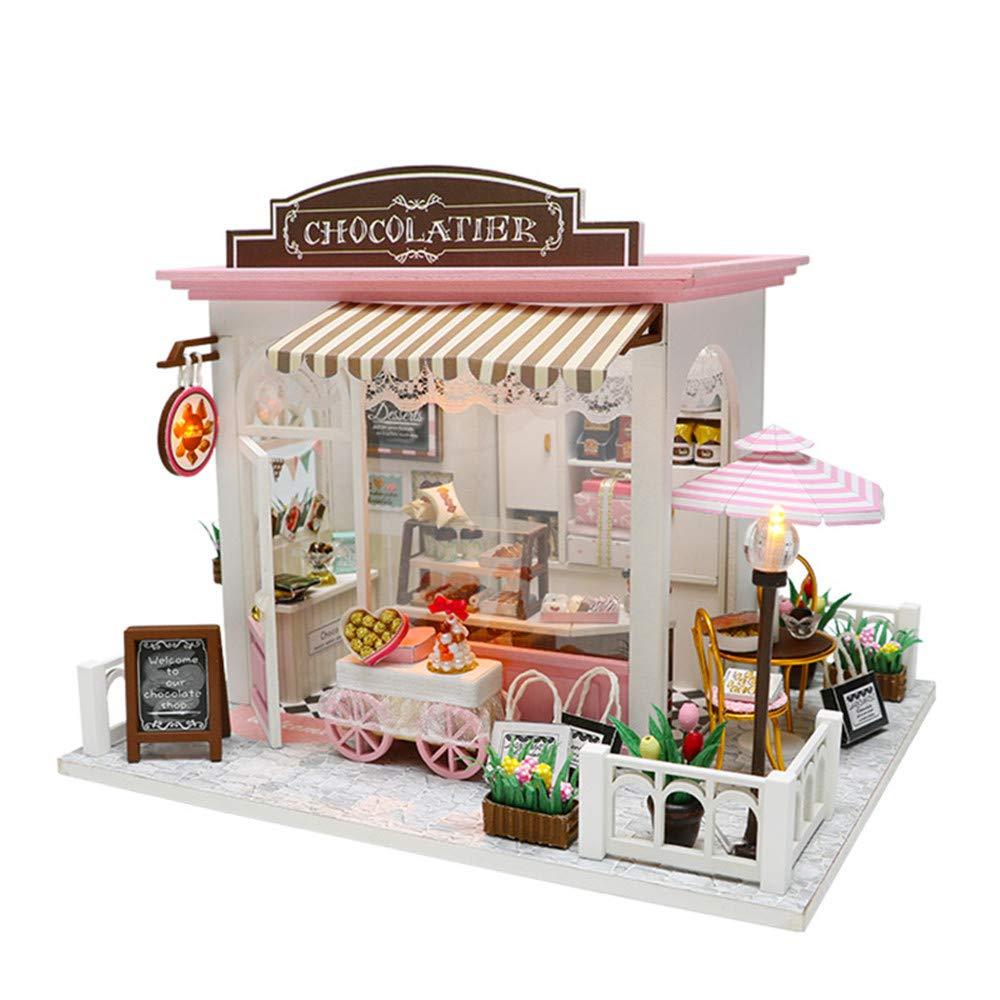 Fai finta di giocare ai giocattoli per i più picco Casa Fai da te Villa Idee creative Prendi copertura Modello di assemblaggio manuale Giocattolo in legno Regalo di compleanno Casa di bambole in legno