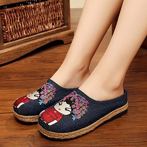 Shoes 35 Flax Toe Mules Slippers Women Anti Pump Skid Embroidery 40 Casual jeans Size Opera Cloth blue Flat Closed Eu Peking Shoes gdqZwxfxU
