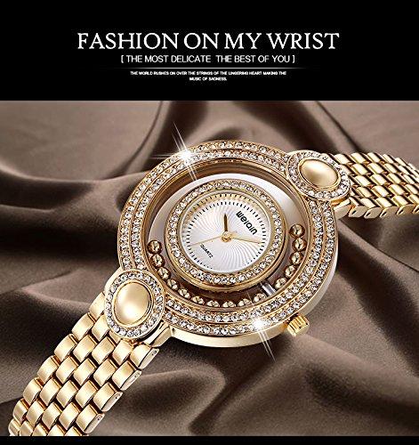 JIANGYUYAN Brand Ladies Gold Watch Fashion Bead Rhinestone Round Dial Analog Quartz Dress Watches Women Wateroroof Gift