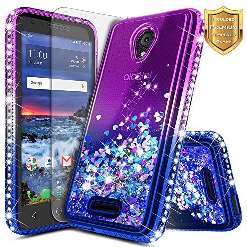 Alcatel IdealXcite Case, Verso/Raven LTE (A574BL) /CameoX (4G LTE) /U50  (5044R) with Tempered Glass Screen Protector, NageBee Glitter Liquid  Sparkle